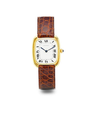 Cartier. An 18K gold automatic tonneau wristwatchGondole, no. 170100264, 1970's