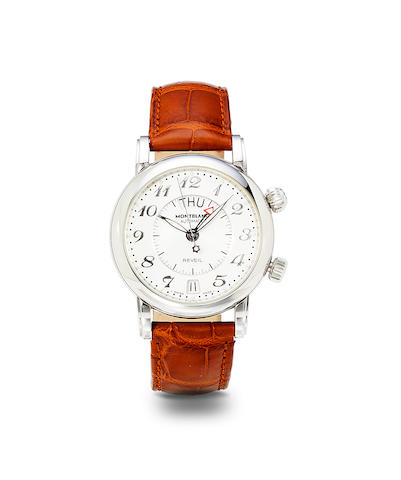 Montblanc. A stainless steel automatic alarm wristwatch with center seconds and date.Star 4810, no. 7026 / PL 71307, 1990's