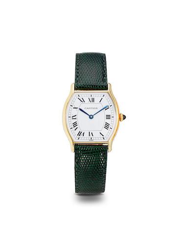 Cartier. An 18K gold Tonneau wristwatchNo. 10712054, 2000's