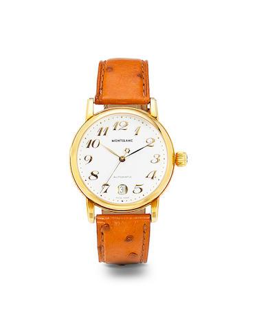 Montblanc. A fine 18K gold automatic center seconds wristwatch with dateStar,  Ref 7011, no. CC54599, 1990's