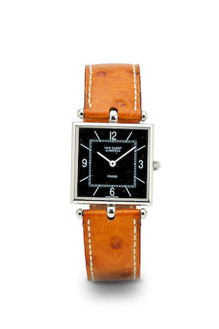 Van Cleef & Arpels. A fine stainless steel wristwatch with black dial.053142 / 116028, sold 1998