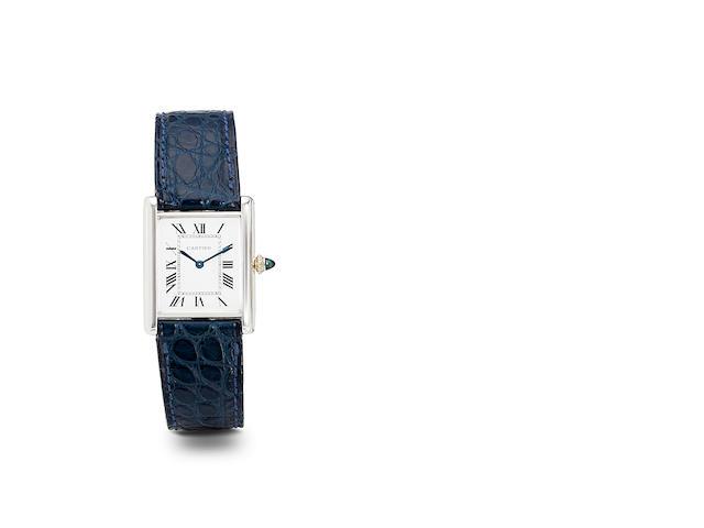 Cartier. A fine 18K white gold Tank wristwatchNo. 960100964, 1970's