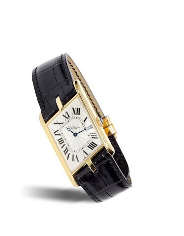 Cartier, Paris. A fine and rare 18K gold limited edition asymmetric Tank wristwatchTank Parallélogramme, Collection Privée, Ref. 2842. No. 135 / 150