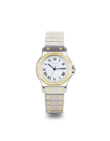 Cartier. A steel and 18K gold automatic center seconds bracelet watch with dateSantos Ronde