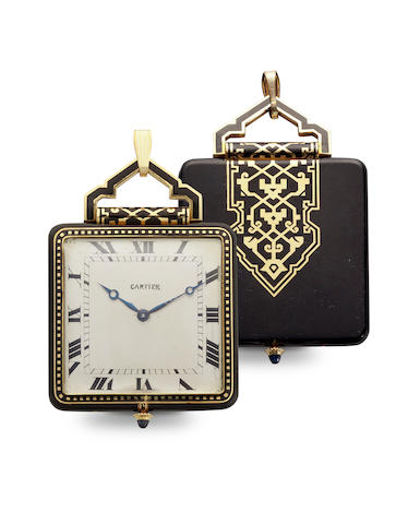 Cartier. A fine and rare enameled gold Art Deco pendant watchEuropean Watch and Clock Co., No. 19319, case with reference no. 145, sold 1925