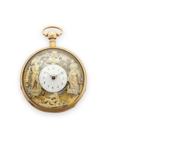 Swiss. An 18K gold quarter repeating jacquemart watchCirca 1810