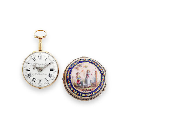 Les frères Esquivillon et DeChoudens, Geneva. An enameled gold pair case verge watch.No. 32710, circa 1780