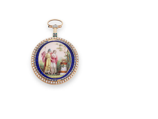 Swiss. An enameled gold verge watch set with pearlsCirca 1790