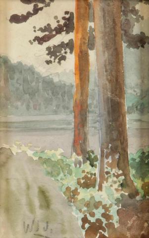 William Lees Judson (2) Redwoods; Waterfall