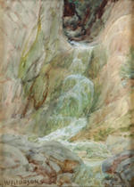 William Lees Judson (American, 1842-1928) Redwoods; Waterfall (A Pair) 6 x 4; 7 1/2 x 5 1/2in