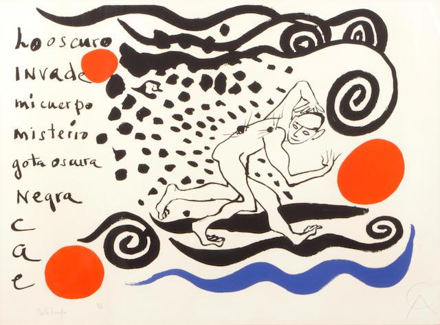 Alexander Calder (American, 1898-1976); L'oscura Invade 1970 color lithograph;