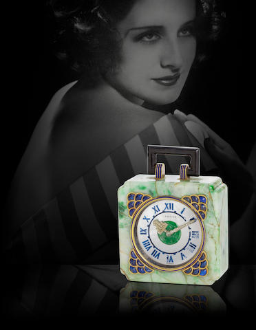 Cartier. A fine and rare jade, lapis lazuli, diamond and mother of pearl penduletteCirca 1925, reference no. 1233, movement by the European Watch and Clock Co., no. 35036