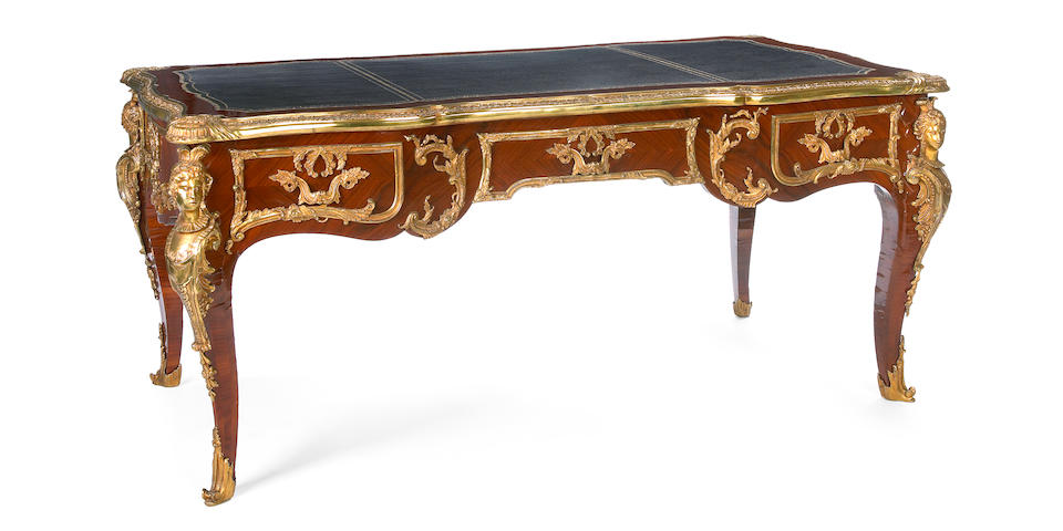 Louis XV style gilt bronze mounted kingwood bureau plat