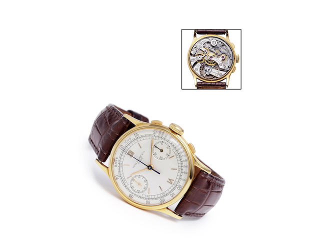 Patek Philippe. A fine 18K gold wrist chronographRef: 130, Case no. 619952, Movement no. 862269, made in 1939