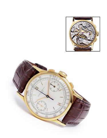 Patek Philippe. A fine 18K gold wrist chronographRef: 130, Case no. 619952, Movement no. 862269, made in 1939