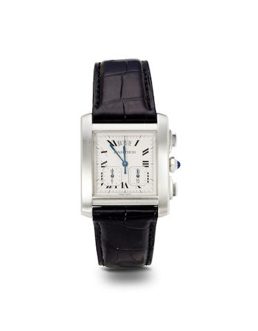 Cartier. A stainless steel Tank Française chronograph with registers and dateNo. 210295BB, Ref: 2531, circa 2000