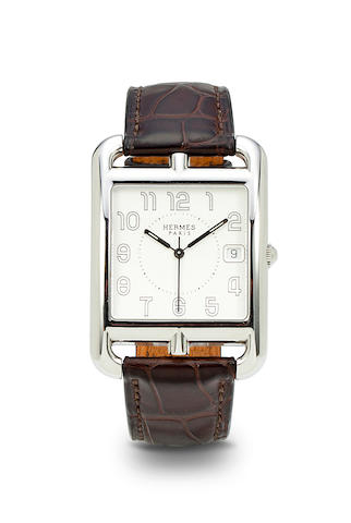 Hermès. A stainless steel curved rectangular openwork center seconds wristwatch with dateCape Cod, No. 2349897, Ref: CC1.810, sold 2007