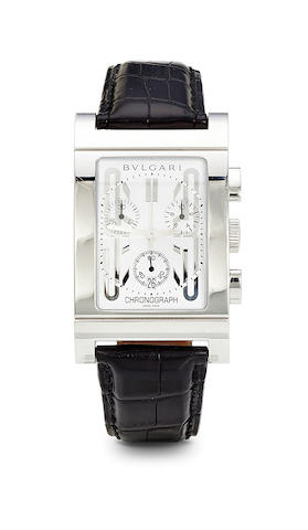 Bulgari. A stainless steel Rettangolo wrist chronograph with registers