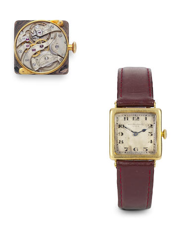 Patek Philippe. A fine and rare 18K gold square wristwatch with original gold buckleCase no. 288489, Movement no.194033, circa 1920
