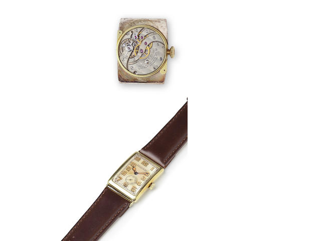 Patek Philippe. An 18K gold curved rectangular wristwatchCase no. 604107, Movement no. 811559, circa 1925