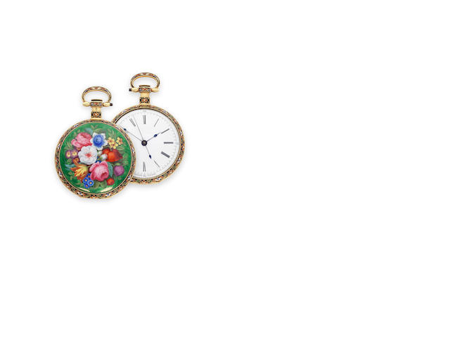 Vaucher, Fleurier. A fine floral enameled gold open face center seconds duplex watchCirca 1825