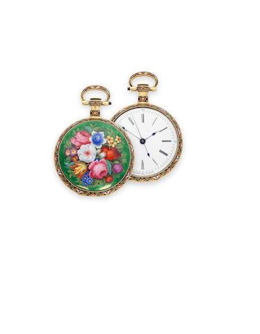 Vaucher, Fleurier. A fine floral enameled gold open face center seconds duplex watchCirca 1825