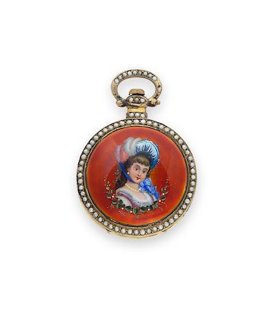 Bovet, Fleurier. A fine portrait enameled pearl-set gilt center seconds watchNo. 167, mid 19th century