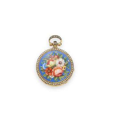 Dimier & Cie., Geneva. A rare floral enamel pearl-set gilt miniature verge watchCirca 1825