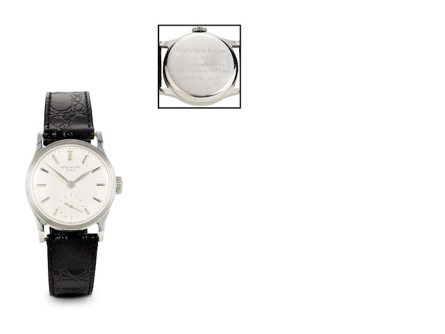 Patek Philippe. A fine and rare stainless steel Calatrava wristwatch with presentation inscriptionRef: 96, Case no. 639854, Movement no. 929561, circa 1945