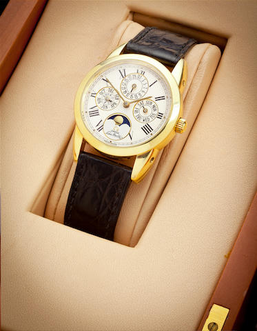 Omega. An 18K gold automatic wristwatch with perpetual calendar and moon phasesLouis Brandt Cal.1118, No. 1750300, 1990's