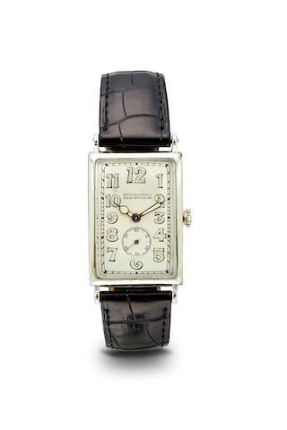 Patek Philippe. A fine 18K white gold curved rectangular wristwatchCase no. 293622, Movement no. 823306, circa 1933