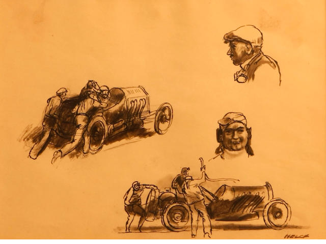 Peter Helck: Page of sketches, circa 1960's,