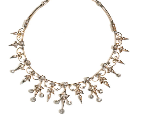 An antique diamond fringe necklace,