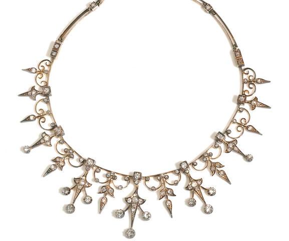 An antique diamond fringe necklace,