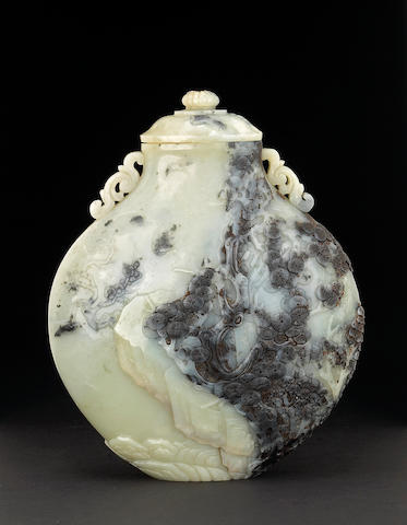 A rare black and white nephrite covered vase 18th Century