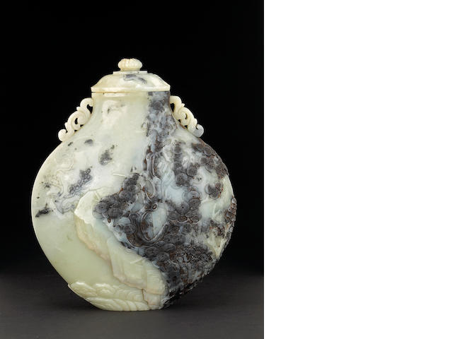 A rare black and white nephrite covered vase 17th/18th Century