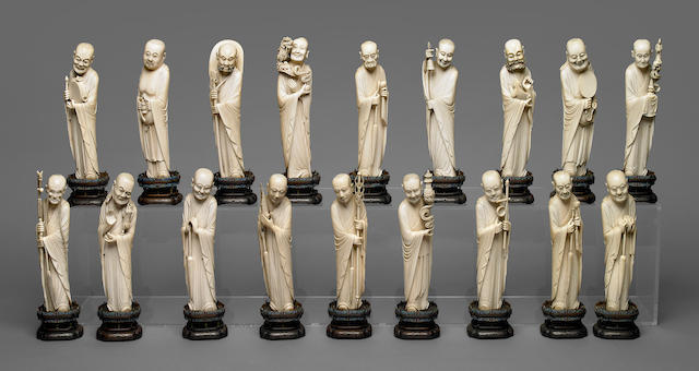 A set of Chinese carved ivory 18 Luohan