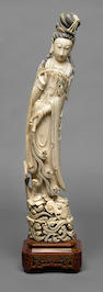 A large carved ivory Guanyin