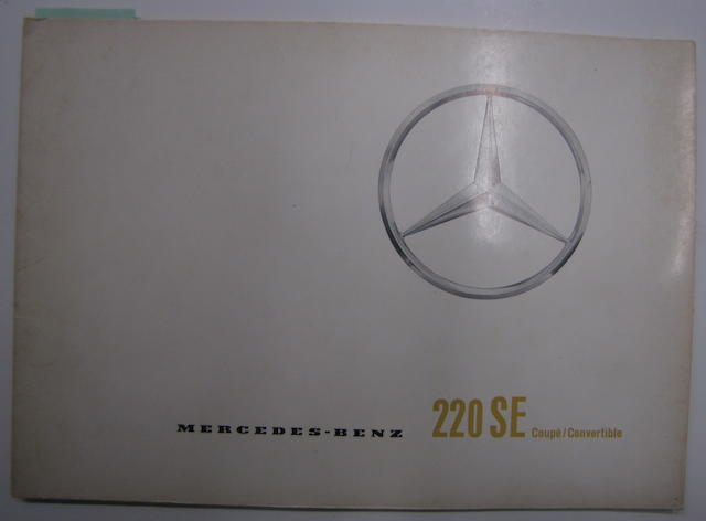 A Mercedes - Benz 220 SE coupe/convertable sales brochure, circa 1962,