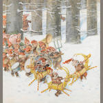 Högfeldt, R. Watercolor. Christmas procession of elves. Published in Smalanningens Jul. 20 x 20.