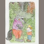 Marshall, James. Watercolor. Boy with Big Bad Wolf. 6 x 5.