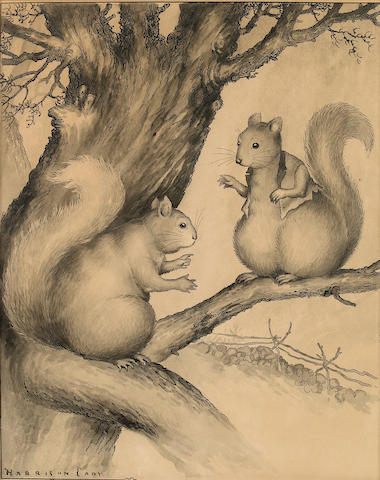 Cady, Harrison. Ink and wash on board. Squirrels. 14 x 11.