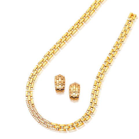An eighteen karat gold and diamond necklace and a pair of earclips, Cartier,