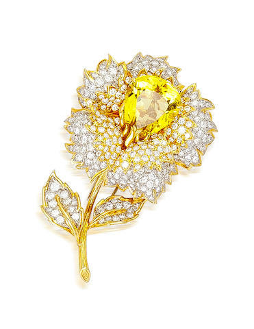 A yellow sapphire and diamond brooch, Tiffany & Co.