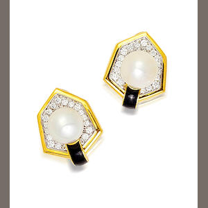 A pair of cultured pearl, diamond and enamel earclips, David Webb