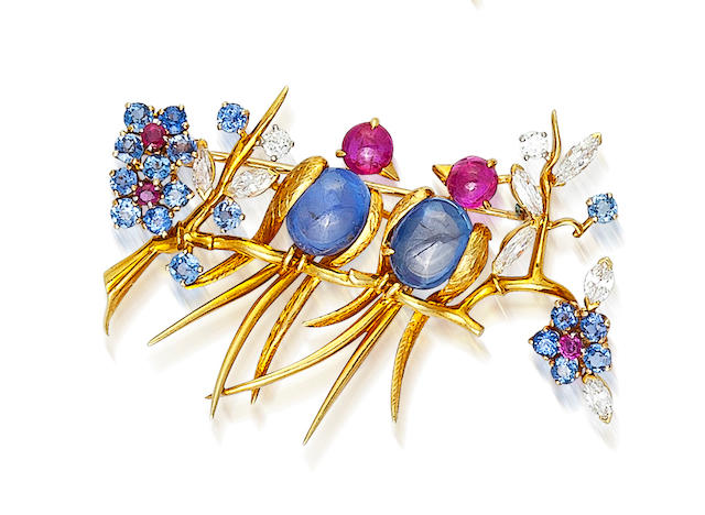 A sapphire, ruby and diamond brooch, Van Cleef & Arpels,