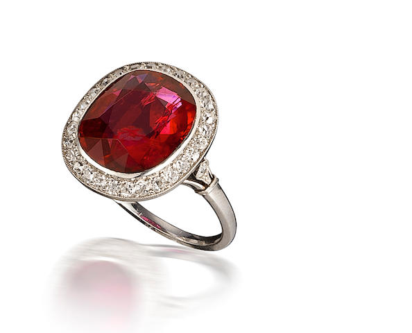 An art deco ruby and diamond ring, Mauboussin,