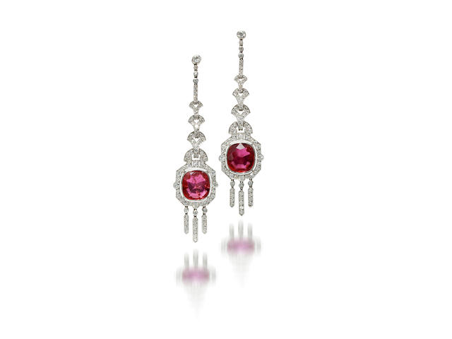 A pair of art deco ruby and diamond pendant earrings, Mauboussin,