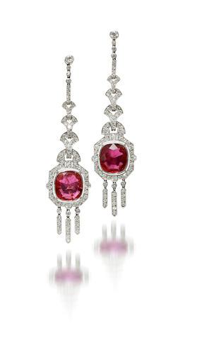 A pair of art deco ruby and diamond pendant earrings, Mauboussin,