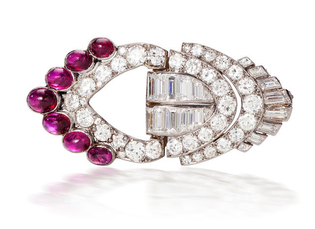 An art deco diamond and ruby brooch, Van Cleef & Arpels,
